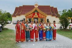 @ Jennifer Anderson.  2009 Lao New Year (Songkran) Celebration Pageant Court at Wat Thammarattanaram Buddhist Temple in Broussard, Louisiana.  Look through the album and see a Golden Buddah on parade.