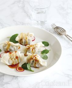 Beef dumpling with Korean herb, '깻잎'