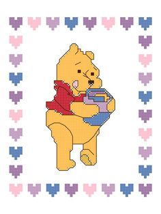 Cross Stitch Pooh Bear's Hunny Pot Pattern Design Chart Winnie the Pooh Bear Child's Room Nursery Decor PDF Digital File Instant Download by theelegantstitchery on Etsy