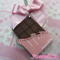 Sweet XL Pink Ribbon Swarovski Crystal Choco Bar Long Necklace Silver - One Size