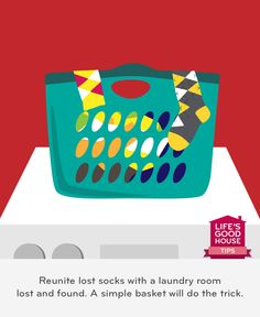 Reunite lost socks with a laundry room lost and found. A simple basket will do the trick.