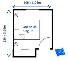 12 x 10ft small bedroom design for a queen size bed (king in UK).  The sliding doors on the wardrobe save on space.