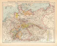1896 Original Antique Political Map of the German Empire