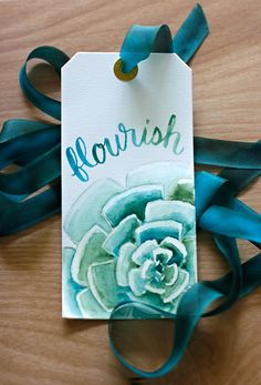 Step by step for painting this succulent and video of the brush lettering.
