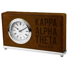 Greek Graduation Leather Horizontal Desk Clock  - LLC202 - LZR Phi Sigma Sigma, Kappa Alpha Theta, Custom Greek Apparel, Gift Of Time, Sorority Outfits, Greek Clothing, Custom Fonts, Desk Clock, Dark Brown Leather