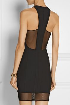 Elizabeth and James | Parker mesh-paneled stretch-ponte mini dress *Back view