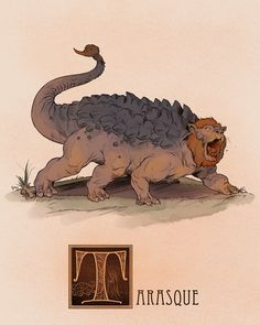 Name: Tarasque Area of Origin: France Said to be the offspring of the Onachus (a Scaly Bison-like beast) and the biblical Leviathan (a gargantuan sea-monster) the Tarasque was a monstrous chimeric beast that devastated much of Nerluc, in Provence,. Magical Creatures, Fantasy Creatures, Folklore, Myths & Monsters, Legendary Creature, Mythological Creatures, Creature Concept, Monster Art, Creature Design