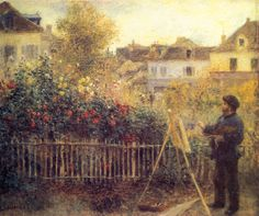 RENOIR, Pierre-Auguste French Impressionist (1841-1919)_Claude Monet Painting in his Garden at Argenteuil 1875