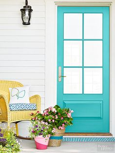 add cheer to an entry by painting the door turquoise