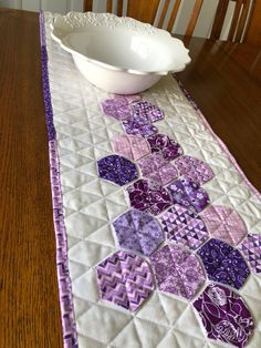 Your place to buy and sell all things handmade Lilac Tree, Quilted Table Runners, Table Toppers, Primary Colors, Handmade Items, Quilts, Purple, Modern, Etsy