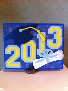 graduation card made usin lyrical      letters cricut cartridge | Cricut card using Recess and Varsity Letter