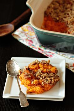 Sweet potato casserole is a sophisticated version of a mash- and just as easy! The bright orange also makes it great for your Halloween party.