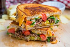 Bacon Double Cheeseburger Grilled Cheese Sandwich.