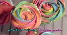 Rainbow colored Meringue Roses