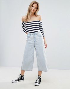 Effortless and chic pale denim culottes paired with an off-shoulder striped top and black high top converse. This is the perfect everyday look for university, as it's comfortable yet stylish. Plus they're from ASOS - student discount woohoo!