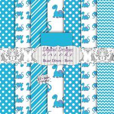 Blue Dinos Boys Digital Paper Pack 12x12 Set of 8 digital papers1 by DigitalDesignsGalore, $3.99  #blue #dinos #boy #digitalpapers