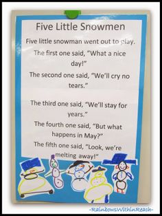 Five Snowmen Poem as Anchor Chart via RainbowsWithinReach