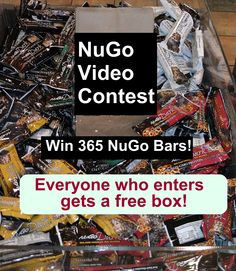 Make a video about NuGo REAL Dark Chocolate protein bars and you could win a bar a day in 2014! Deadline 11/3/13 http://www.nugonutrition.com/2013/09/12/video-contest-win-365-nugo-bars/