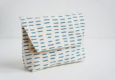 HandPrinted Pouch Organic Cotton Sea Blue Little Lines by laKattun, €24.00