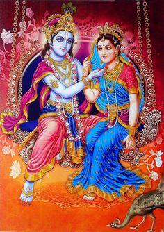 Lord Krishna with Radha on Swing (via ebay: Indian_ash)