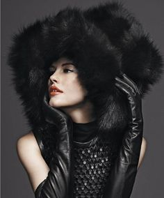 Marc Jacobs giant black fur hat and leather gloves - winter style