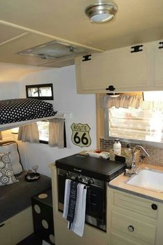 Retro caravan interior black and white