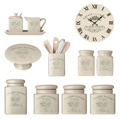 Kitchen Tea Coffee Sugar Canister Biscuit Salt Pepper Milk Jar Cake Stand Clock