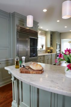 Marble counters; beautiful cabinet color