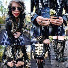 HEAVY METAL #OOTD   studded jacket: @ROMWE  dress: @UNIF Clothing Clothing Clothing Clothing: Her name is Bunny, also known as grav3yardgirl