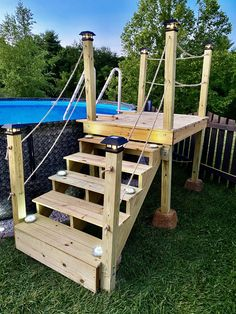Above Ground Pool Stairs, Above Ground Pool Landscaping, Backyard Pool Landscaping, Deck Ideas Around Above Ground Pools, Rectangle Above Ground Pool, Best Above Ground Pool, Rectangle Pool, Landscaping Ideas, Above Ground Swimming Pools