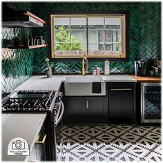 Looking for a durable subway tile? Glazed Thin Brick Forest is a perfect addition to your kitchen backplash, bathroom, fireplace, or commercial project. Bar Restaurant Design, Architecture Restaurant, Gothic Architecture, Ancient Architecture, Thin Brick, Built In Dishwasher, Kitchen Interior, Kitchen Decor, Kitchen Furniture