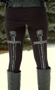 Sword Leggings. im not sure if its geeky or gothy.... but theyre awesome either way.