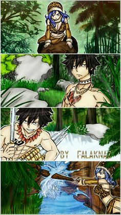 FT Gruvia Manga Stone Age: The only time I see Gray with a tattoo and not his guild mark, Guvia doesn't have hers either Fairy Tail Gruvia, Fairy Tail Natsu And Lucy, Fairy Tail Love, Fairy Tail Ships, Fairy Tail Anime, Juvia And Gray, Stone Age Art, Fairy Tail Photos, Fairy Tail Comics