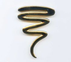 Vintage Squiggle Gold Tone Brooch Pin Large Tall from my-ricky. 80s Jewelry, Vintage Jewelry, Vintage Items, Vintage Friends, Brooch Pin, 1980s, Shop My, Gold, Ebay