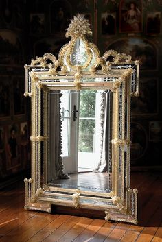 Venetian glass mirrors from Murano island, Italy. Finest hand-crafted in Italy by Murano glass artisans Venetian mirrors Venetian Glass, Venetian Mirrors, Murano Glass, Glass Vase, Ornate Mirror, Vintage Mirrors, Fancy Mirrors, Antique Frames, Mirrors And Chandeliers