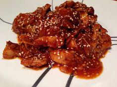 Paleo Spicy Orange Chicken - chicken breasts in a saucepan (rather than crockpot)