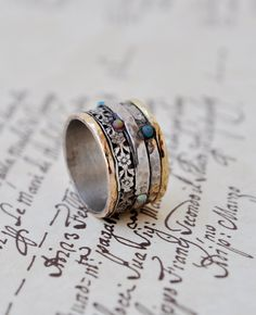 Statement ring  Silver & Gold by Yardenajewelry on Etsy Women's hippie boho bohemian fashion accessories jewelry