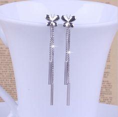 2015 New Trendy S925 Silver Earrings European and American fashion retro earrings tassel Ear Studs for women Jewelry