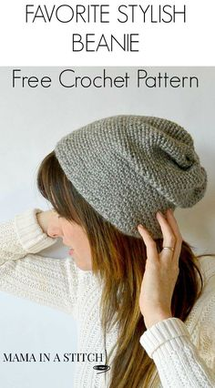 Crochet Beanie Patterns Favorite Free Crochet Slouch Hat from Mama In A Stitch - Super easy pattern and the hat looks knit or woven but it's crochet. Diy Tricot Crochet, Bonnet Crochet, Crochet Scarves, Crochet Crafts, Crochet Clothes, Crochet Projects, Free Crochet, Slouch Beanie Crochet Pattern, Crochet Granny