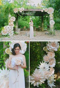 DIY Paper Flower Backdrop / http://www.deerpearlflowers.com/paper-flower-wedding-ideas/
