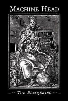 Machine Head - The Blackening-skeleton king Stoner Rock, Arte Heavy Metal, Heavy Metal Bands, Rock Poster, Black Label Society, Band Wallpapers, Metal Tattoo, Metal Albums, Band Posters