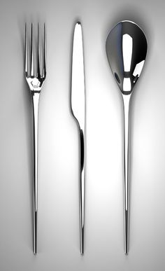 Hull – Cutlery set A cutlery set inspired by wave piercing boat forms. They are designed to be balanced correctly on the forefinger. They are made from polished stainless steel. Kitchen Utensils, Kitchen Knives, Kitchen Tools, Objet Deco Design, Vase Deco, Wc Sitz, Cutlery Set, Silver Cutlery, Architect Design
