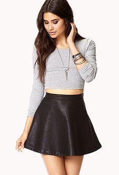 Faux Leather Skater Skirt | FOREVER21 - 2062655471