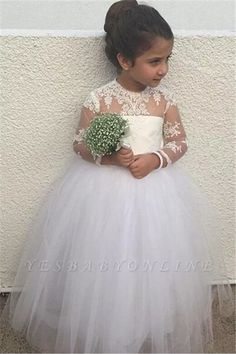 New Long Sleeve Lace Flower Girl Dresses Cute Tulle Ball Gown Little Princess Gown Red Flower Girl Dresses, Tulle Flower Girl, Tulle Flowers, Tulle Balls, Tulle Ball Gown, Ball Gowns, Girls Dresses Online, Girls Pageant Dresses, Princess Dresses
