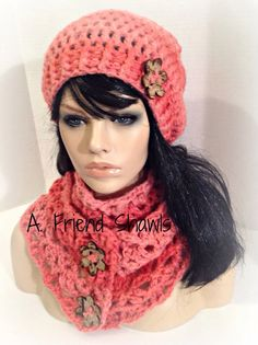 Coral sparkle button front crochet scarf and matching slouch hat