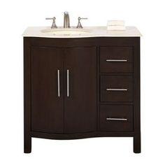 Silkroad Exclusive Kimberly Dark Walnut Undermount Single Sink Bathroom Vanity with Top (Common: 36-in x 22-in; Actual: 36-in x 22-in)