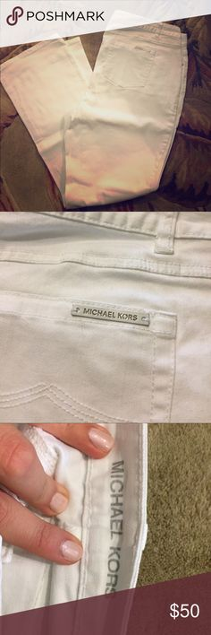 Michael kors white boot cut jeans MICHAEL Michael kors white boot cut jeans. Perfect condition. Two front pockets and two back pockets. I am 6' and they were perfect length! MICHAEL Michael Kors Jeans Boot Cut