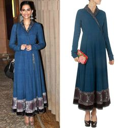 GET THIS LOOK: Sonam Kapoor makes a statement with an all blue look with the indigo khadi angrakha dress by Anju Modi. Shop the dress at http://www.perniaspopupshop.com/designers-1/anju-modi/anju-modi-indigo-blue-khadi-angrakha-style-overlap-dress-anjc0813wl7.html