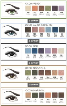 Eye make-up colour guide with Diego Dalla Palma eye shadows