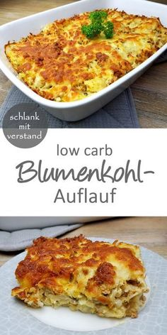 low carb cauliflower casserole - slim with reason rezepte calorie dinner calorie food calorie recipes Low Carb Cauliflower Casserole, Baked Cauliflower, Cauliflower Recipes, Healthy Low Carb Recipes, Keto Recipes, Vegetarian Recipes, Protein Recipes, Dinner Recipes, Healthy Food